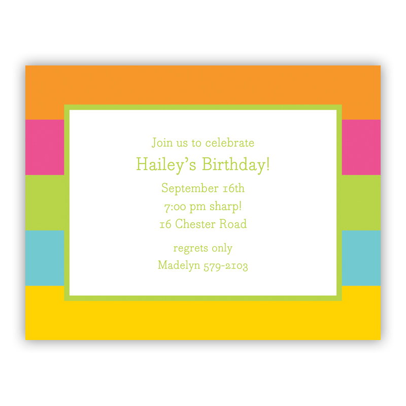 Bold Stripe Small Flat Invitation or Announcement