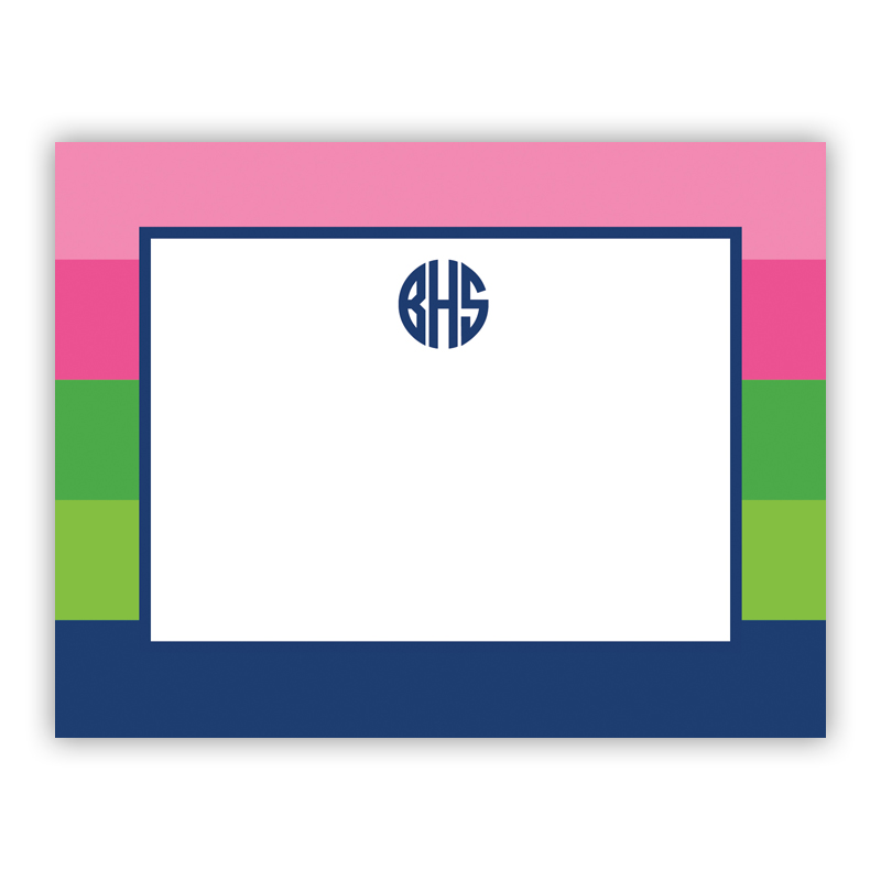 Bold Stripe Pink Green Navy Small Flat Stationery Note