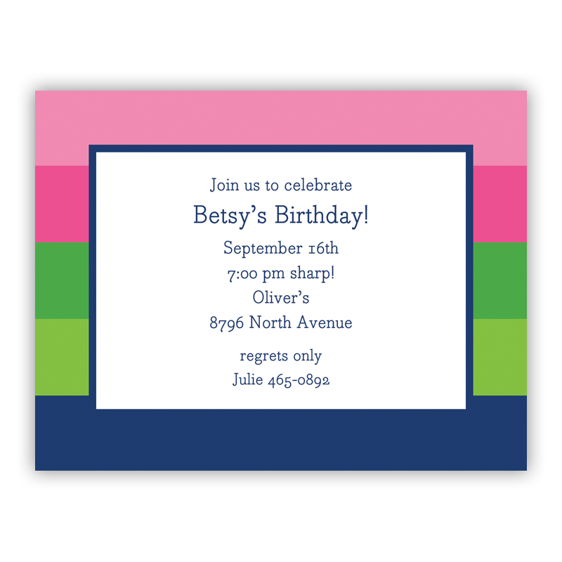 Bold Stripe Pink Green Navy Small Flat Invitation or Announcement