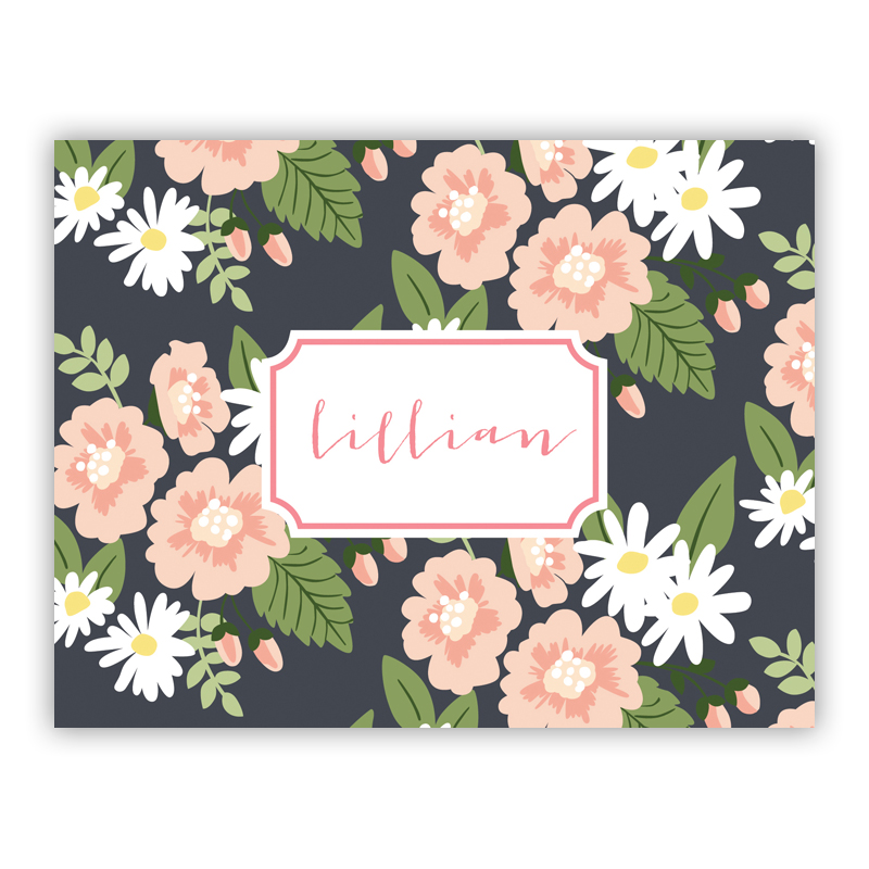 Lillian Floral  Stationery, 25 Foldover Notecards