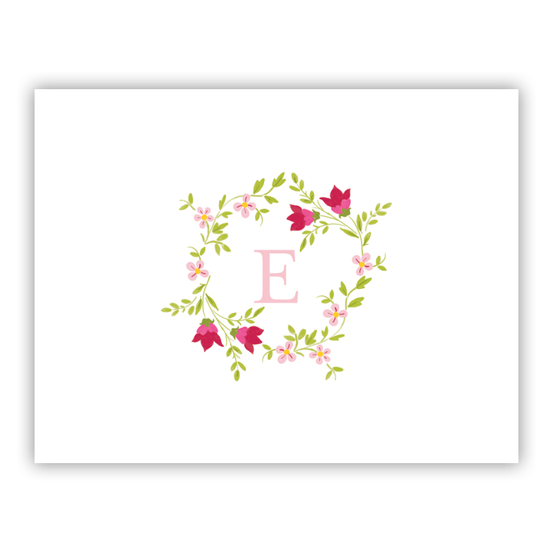 Camryn Floral Wreath Stationery, 25 Foldover Notecards