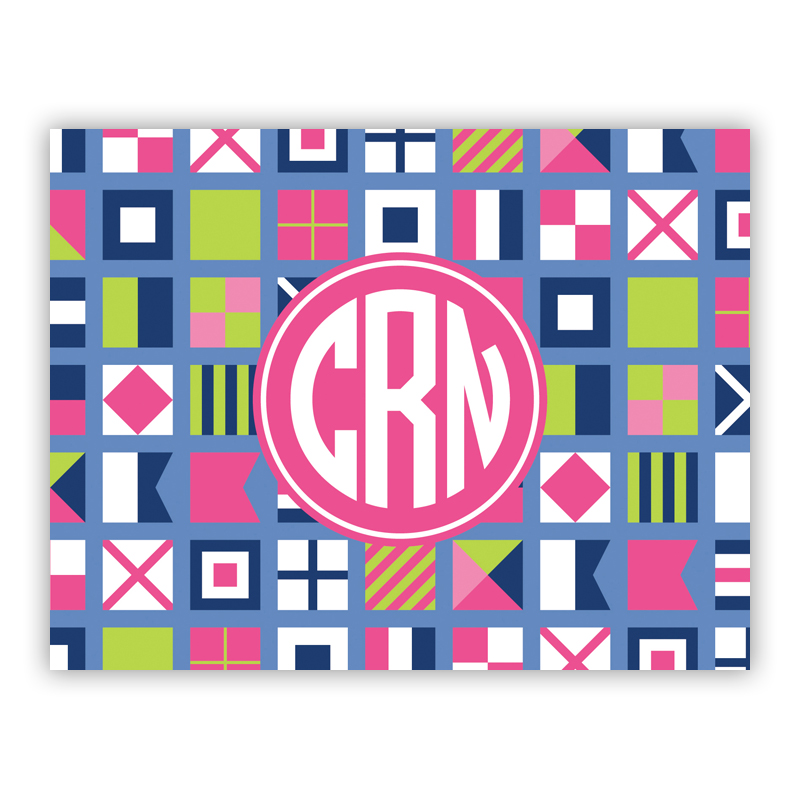 Nautical Flags Pink Stationery, 25 Foldover Notecards