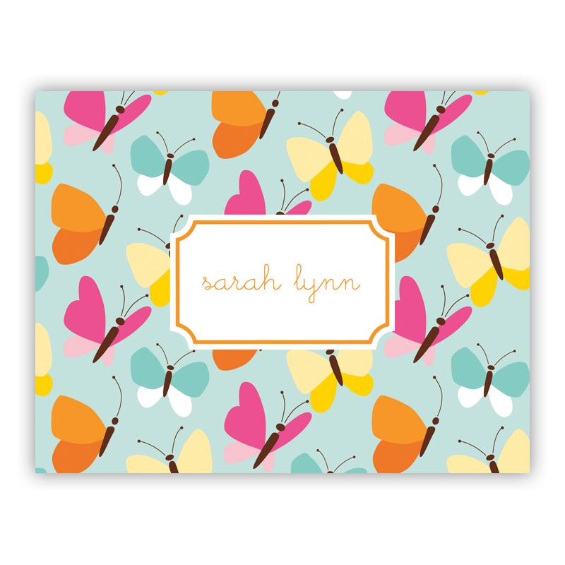 Flutter Teal Stationery, 25 Foldover Notecards