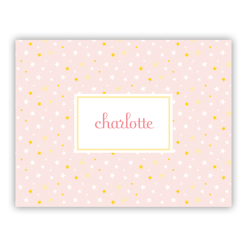 Twinkle Star Pink Stationery, 25 Foldover Notecards