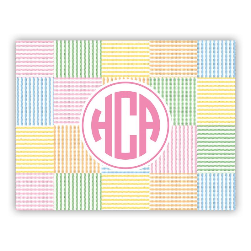 Seersucker Patch Pink Stationery, 25 Foldover Notecards