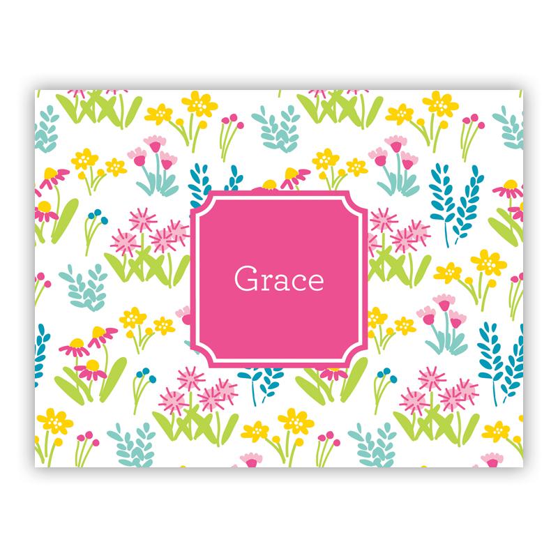 Flower Fields Pink Stationery, 25 Foldover Notecards