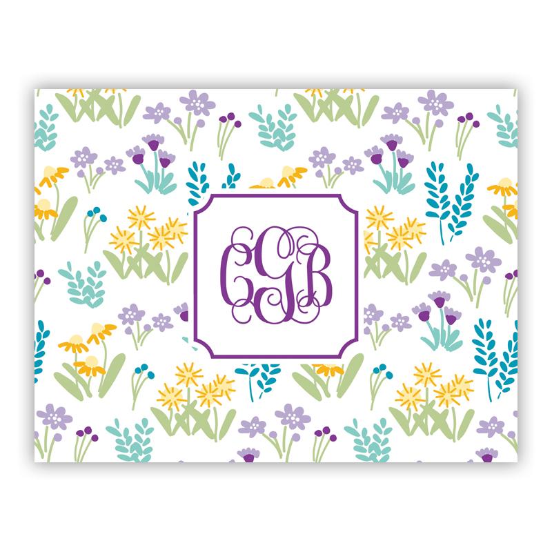 Flower Fields Purple Stationery, 25 Foldover Notecards