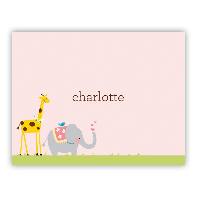 Animal Parade Stationery, 25 Foldover Notecards