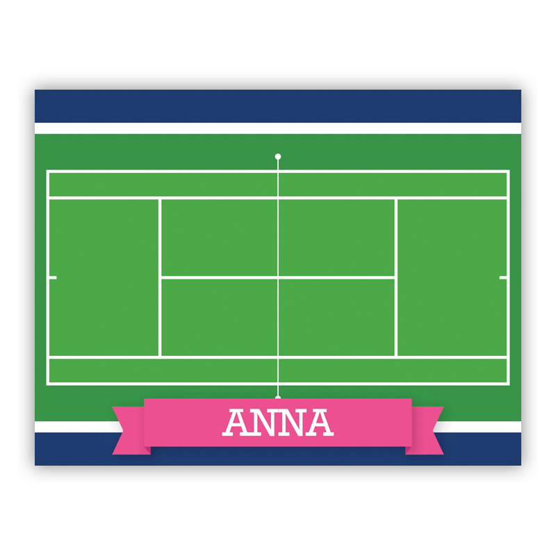 Tennis Court with Pink or Red Banner Stationery, 25 Foldover Notecards