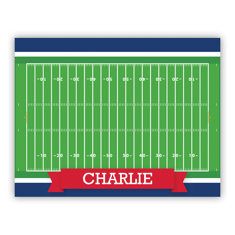 Football Field with Pink or Red Banner Stationery, 25 Foldover Notecards