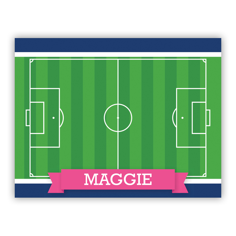 Soccer Field with Pink or Red Banner Stationery, 25 Foldover Notecards