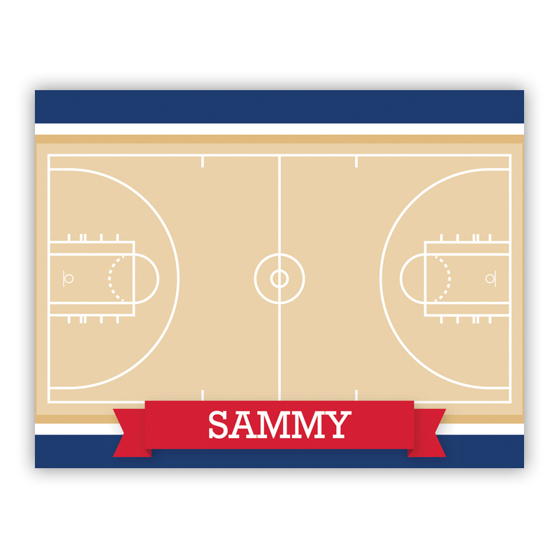 Basketball Court with Pink or Red Banner Stationery, 25 Foldover Notecards