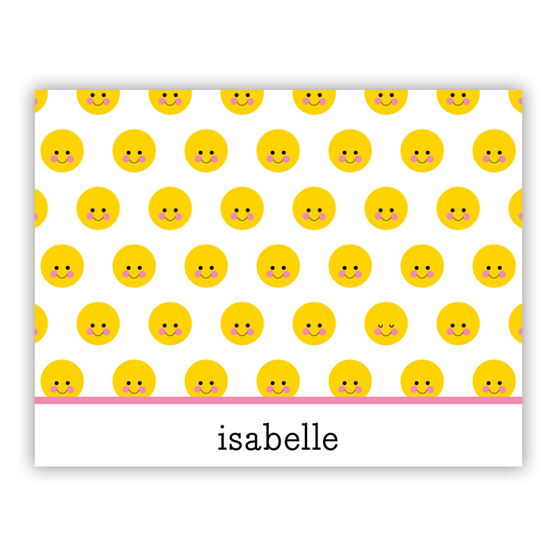 Smiley Repeat Stationery, 25 Foldover Notecards