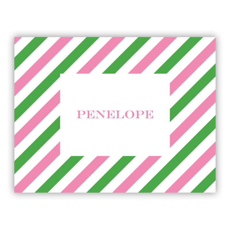 Via Pink & Green Stationery, 25 Foldover Notecards