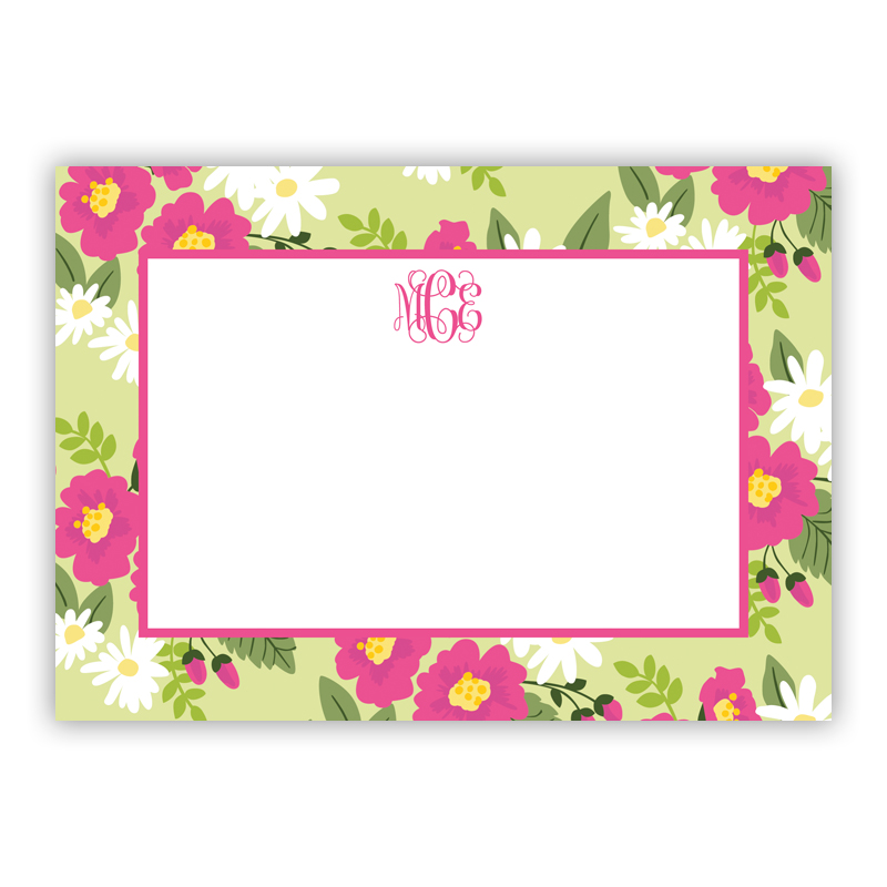 Lillian Floral Bright Stationery, 25 Flat Notecards