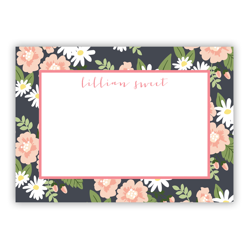Lillian Floral Stationery, 25 Flat Notecards