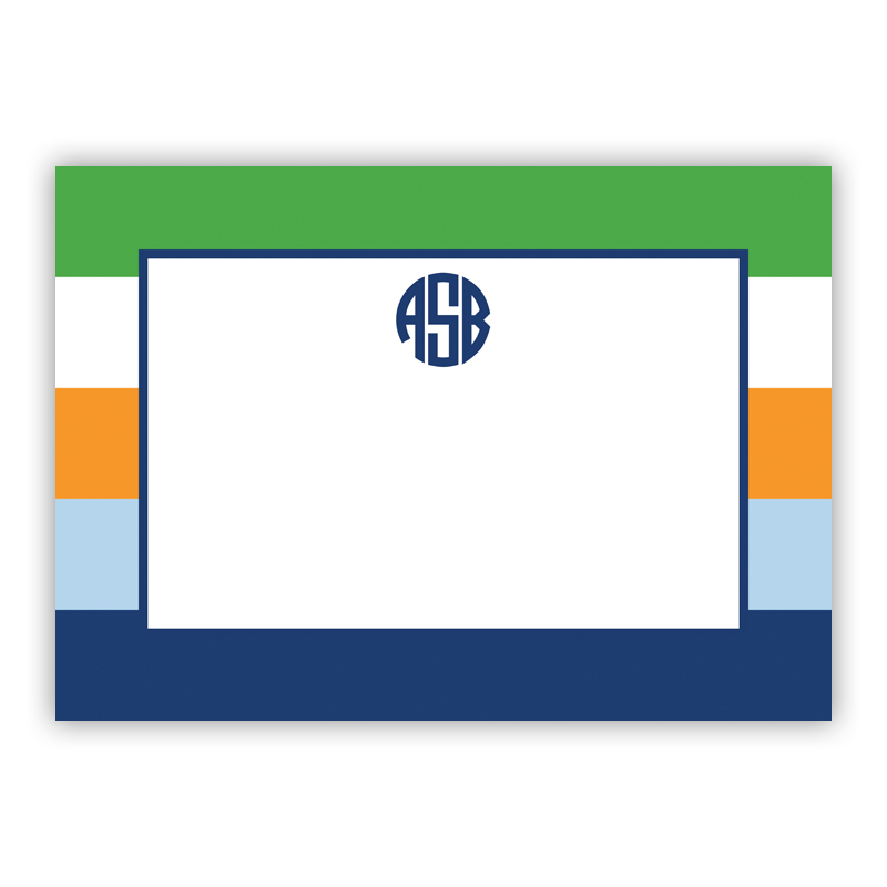 Bold Stripe Navy Orange & Kelly Stationery, 25 Flat Notecards