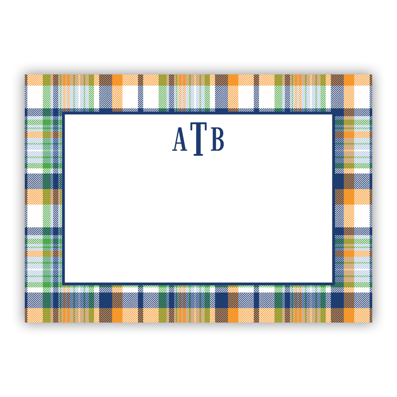 Classic Madras Plaid Navy & Orange Stationery, 25 Flat Notecards