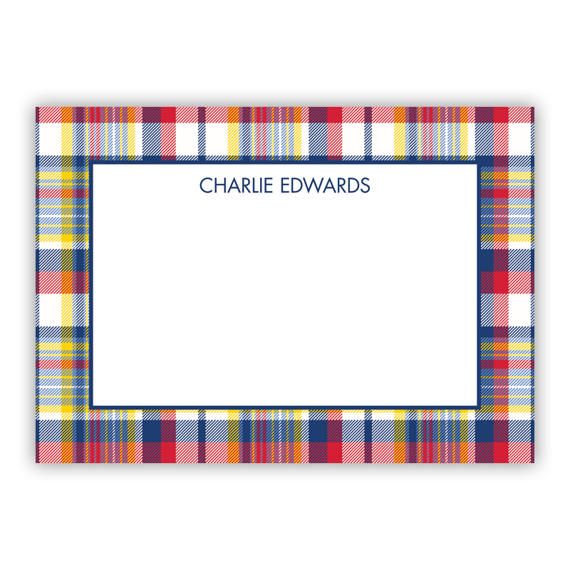 Classic Madras Plaid Navy & Red Stationery, 25 Flat Notecards
