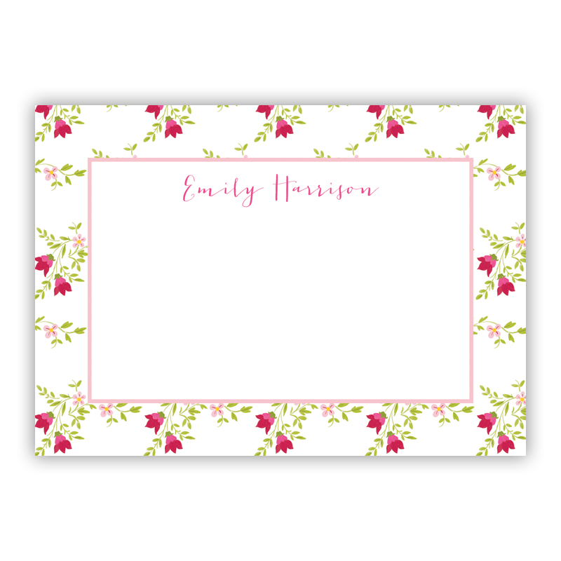 Camryn Floral Stationery, 25 Flat Notecards