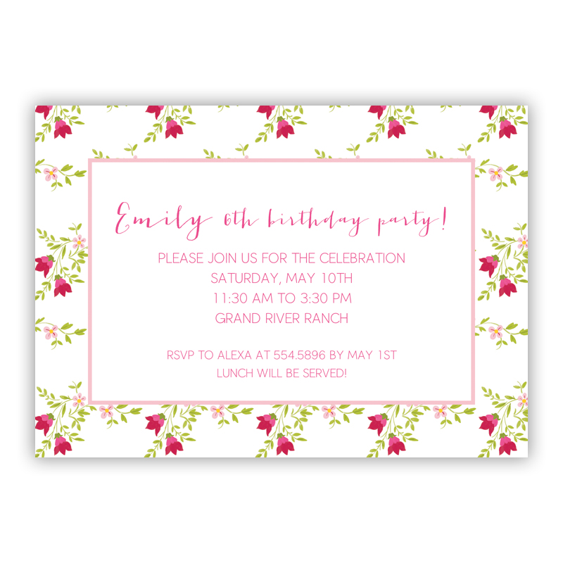 Camryn Floral Invitaton or Announcement,  set of 25