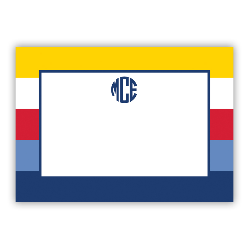 Bold Stripe Nautical Stationery, 25 Flat Notecards