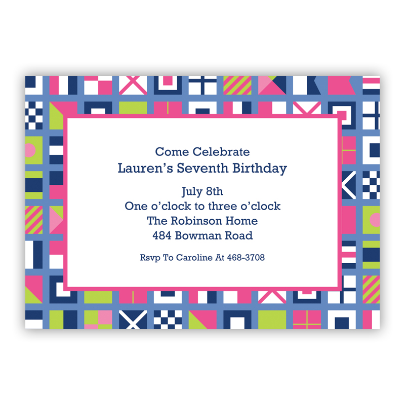 Nautical Flags Pink Invitaton or Announcement,  set of 25