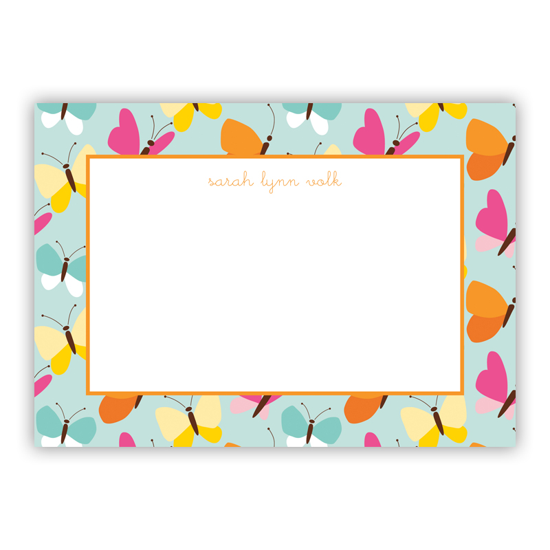 Flutter Teal Stationery, 25 Flat Notecards