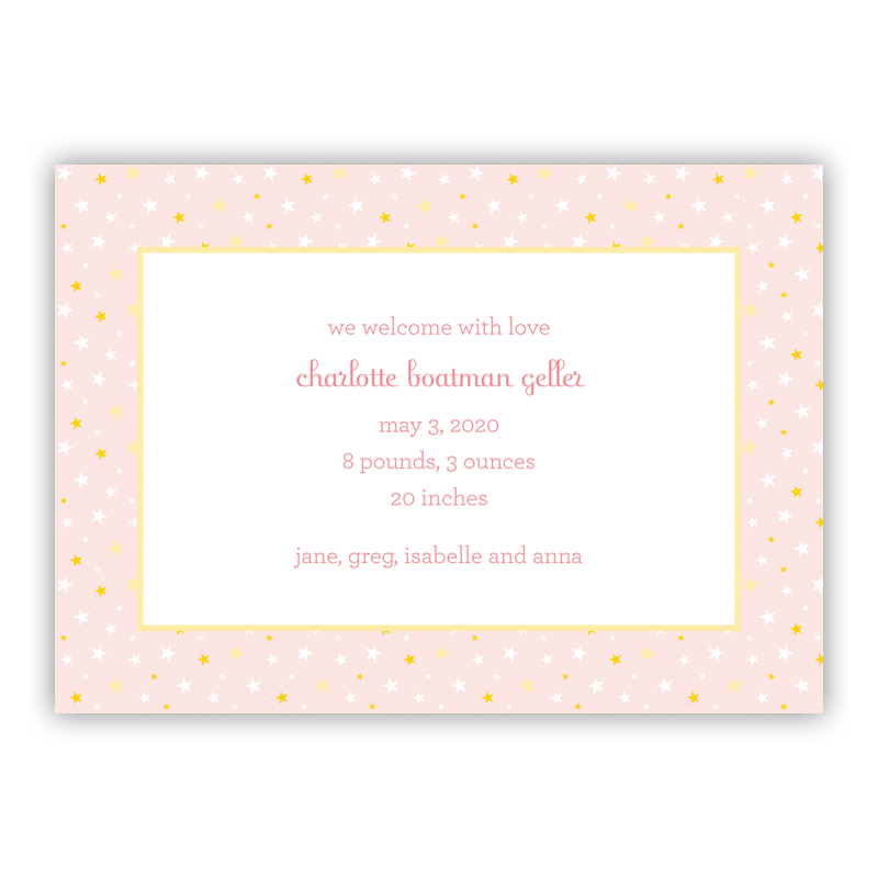 Twinkle Star Pink Invitaton or Announcement,  set of 25