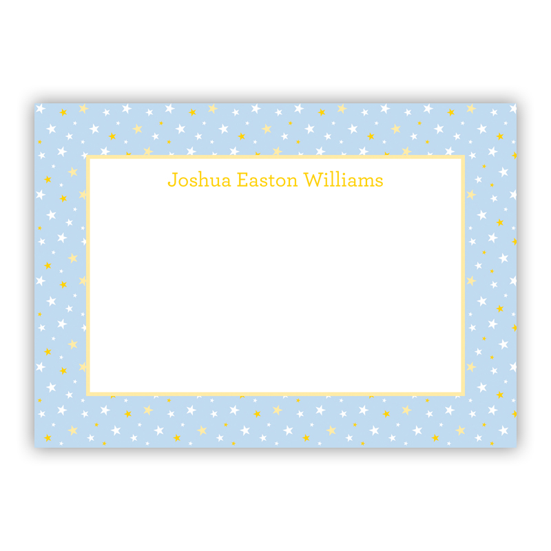 Twinkle Star Light Blue Stationery, 25 Flat Notecards