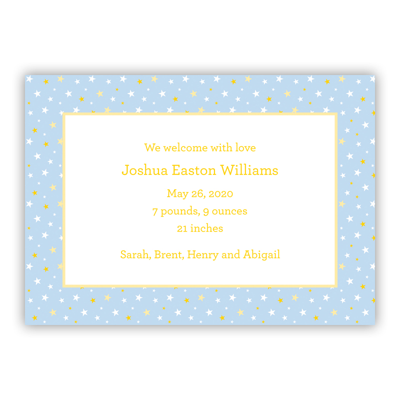 Twinkle Star Light Blue Invitaton or Announcement,  set of 25