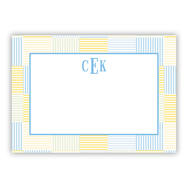 Seersucker Patch Light Blue Stationery, 25 Flat Notecards