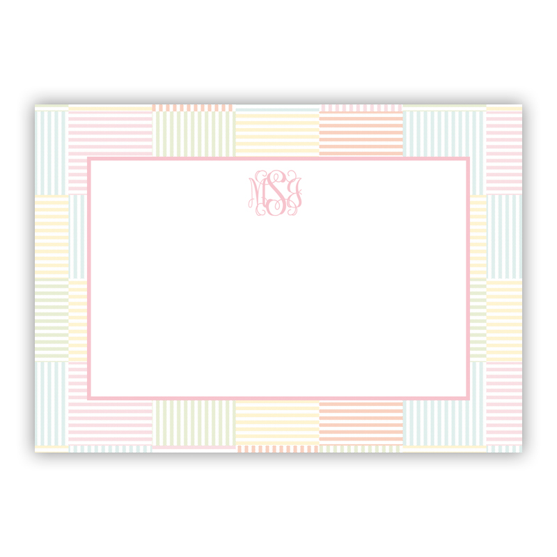Seersucker Patch Light Pink Stationery, 25 Flat Notecards
