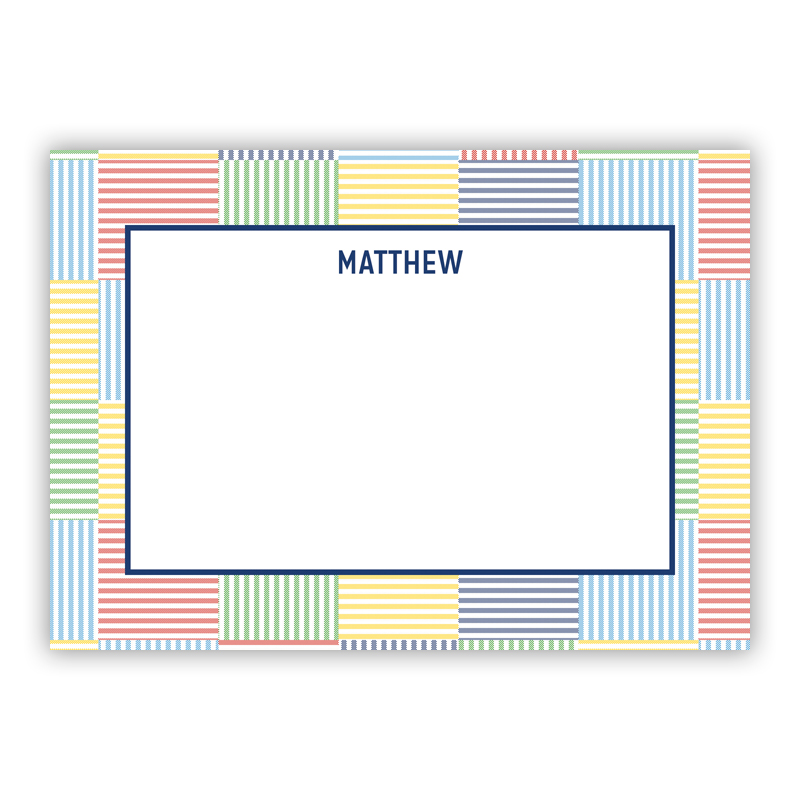 Seersucker Patch Blue Stationery, 25 Flat Notecards