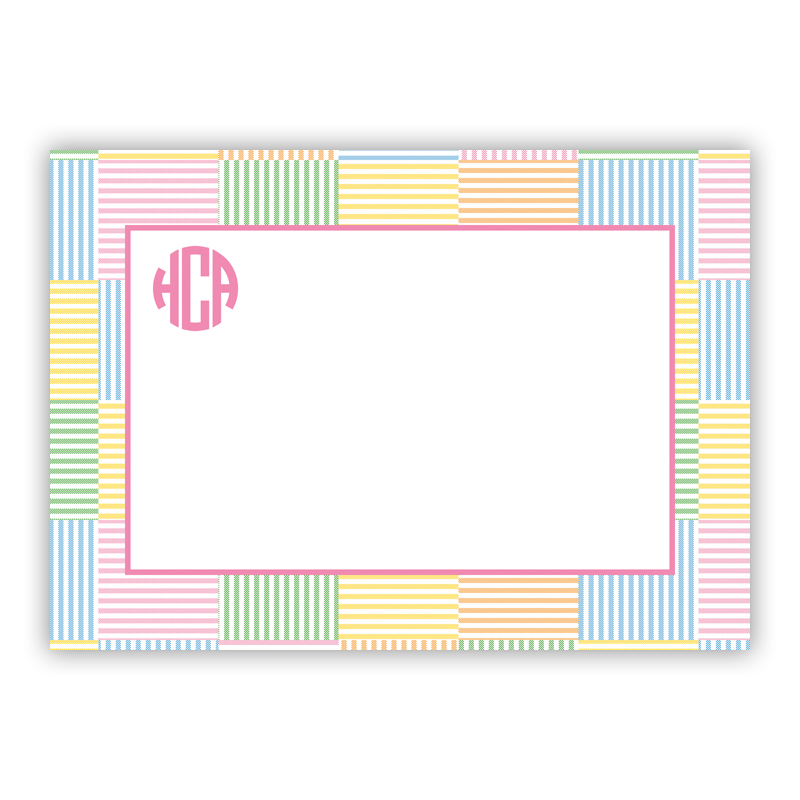 Seersucker Patch Pink Stationery, 25 Flat Notecards