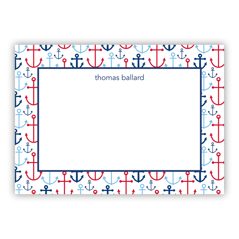 Happy Anchors Blue Stationery, 25 Flat Notecards