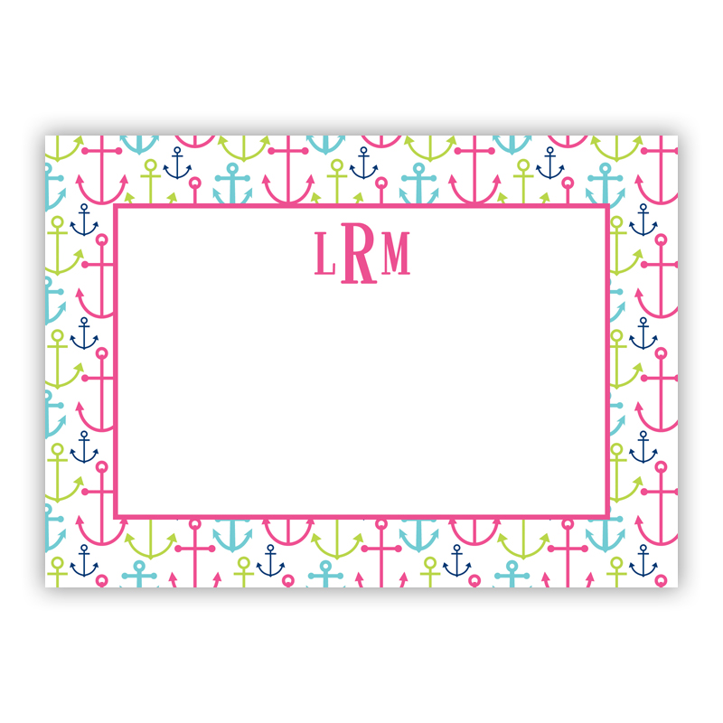 Happy Anchors Pink Stationery, 25 Flat Notecards