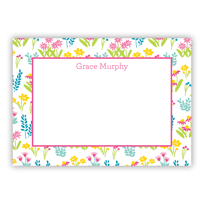Flower Fields Pink Stationery, 25 Flat Notecards