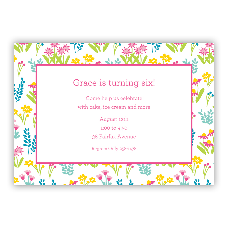 Flower Fields Pink Invitaton or Announcement,  set of 25