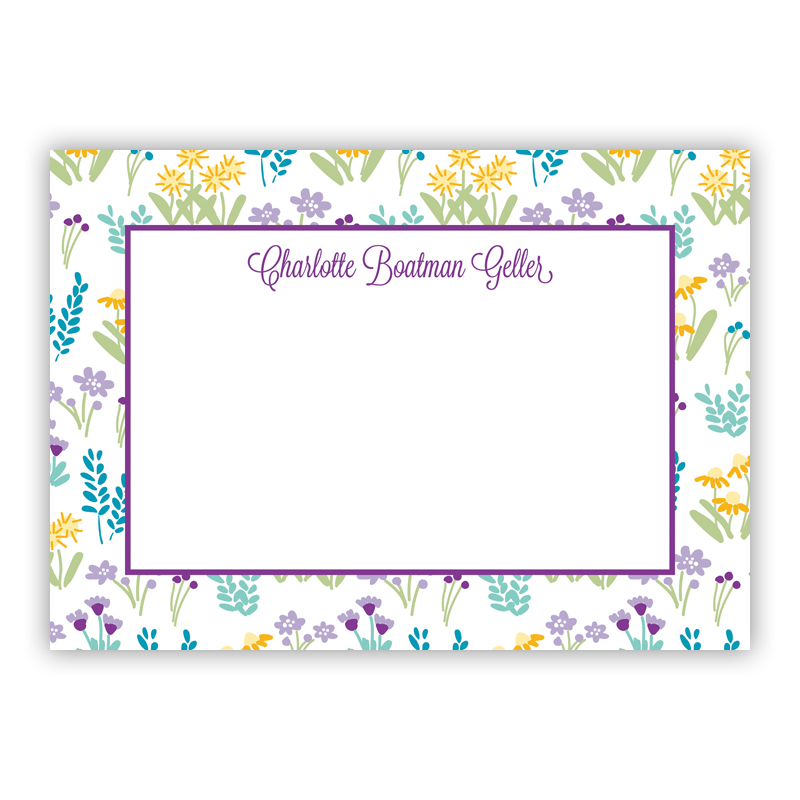 Flower Fields Purple Stationery, 25 Flat Notecards