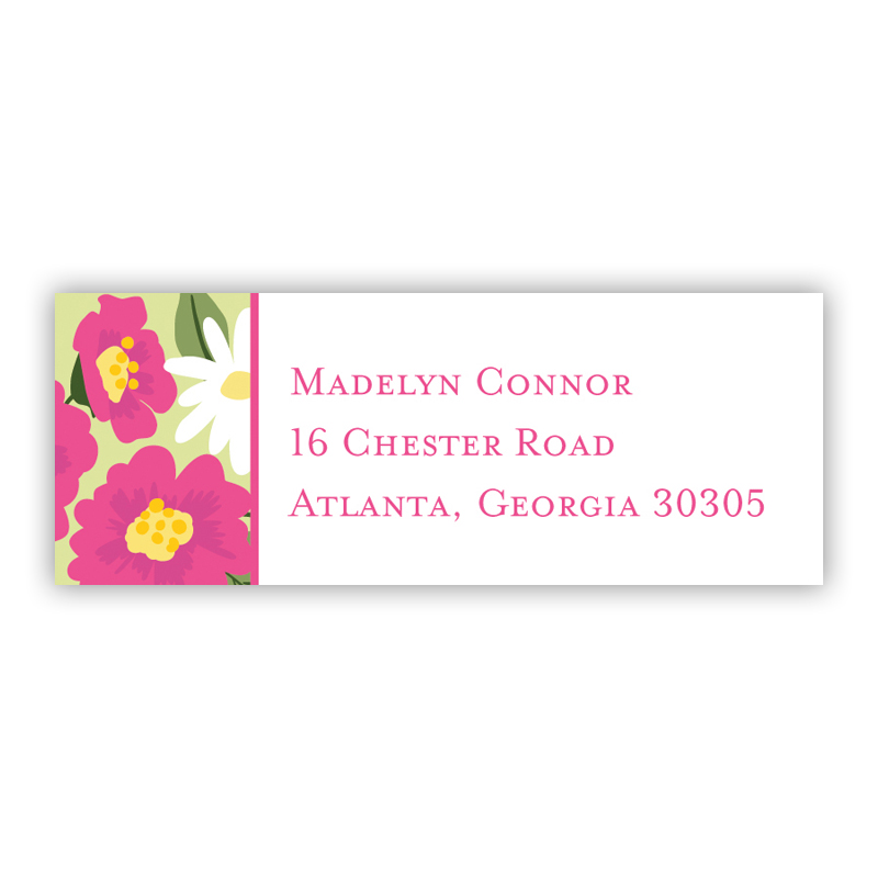 Lillian Floral Bright Return Address Label, 90 labels