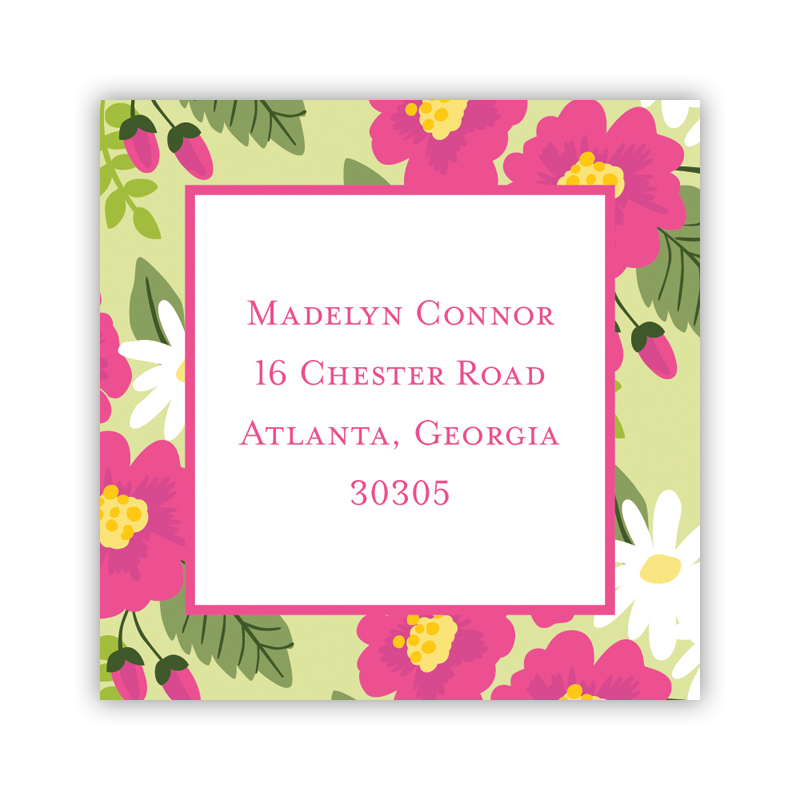 Lillian Floral Bright 24 Personalized Square Stickers