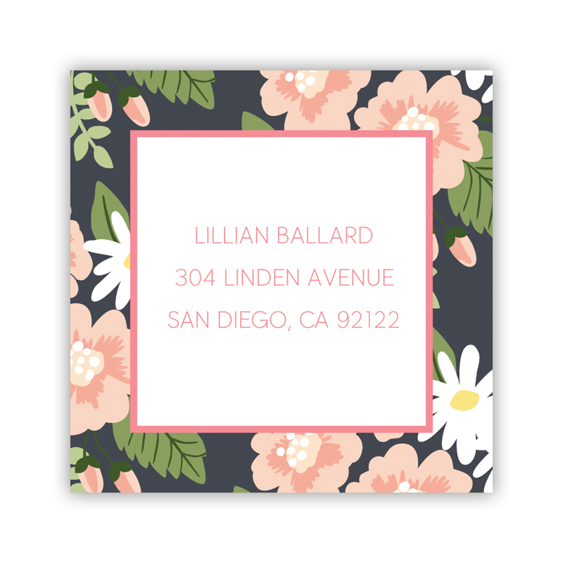 Lillian Floral 24 Personalized Square Stickers
