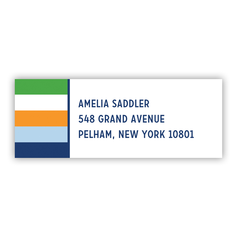 Bold Stripe Navy Orange & Kelly Return Address Label, 90 labels