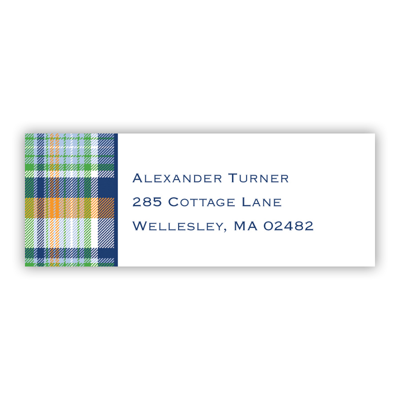 Classic Madras Plaid Return Address Label, 90 labels