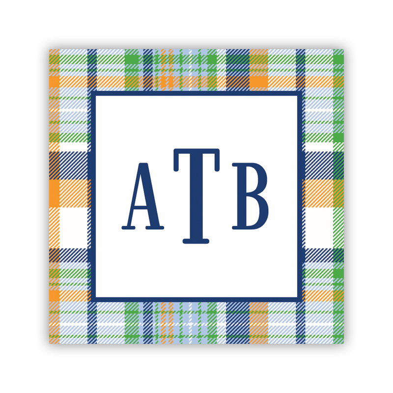 Classic Madras Plaid 24 Personalized Square Stickers