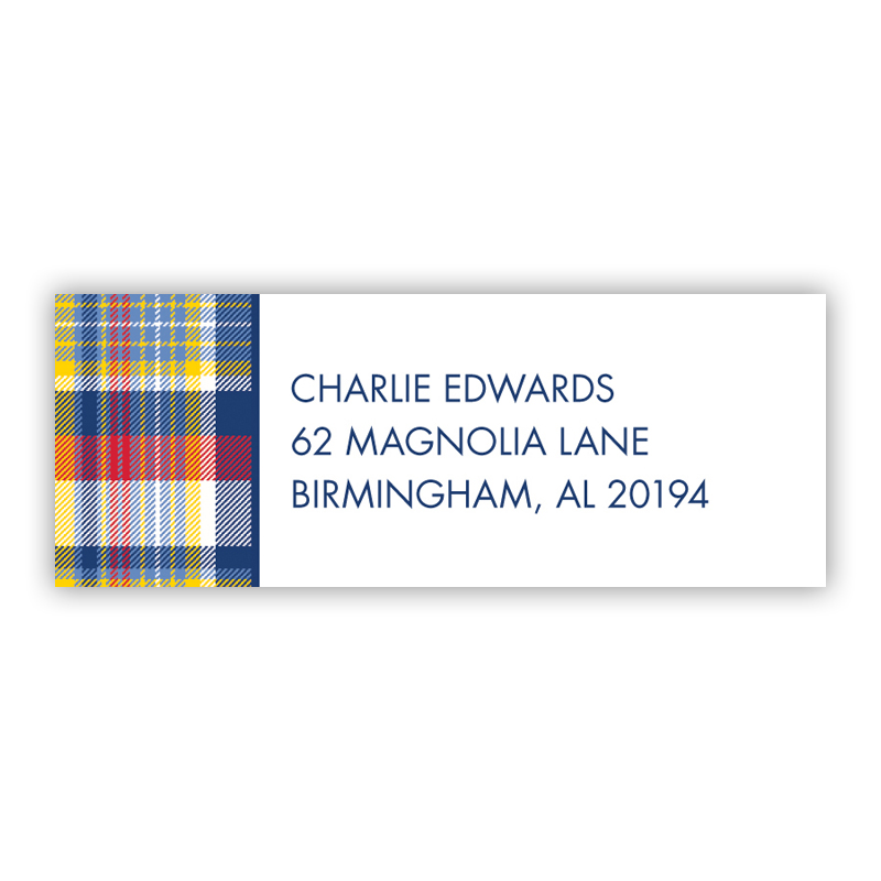 Classic Madras Plaid Navy & Red Return Address Label, 90 labels