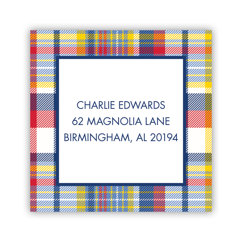 Classic Madras Plaid Navy & Red 24 Personalized Square Stickers
