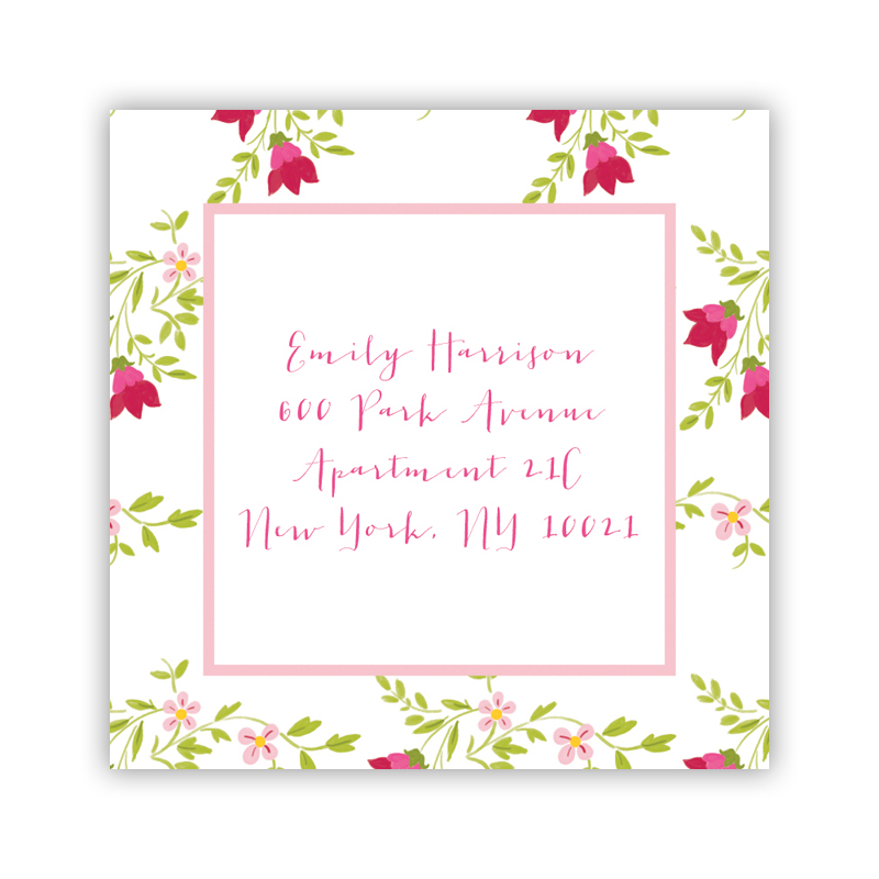 24 Personalized Camryn Floral Square Stickers