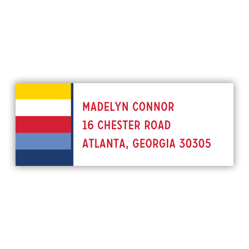 Bold Stripe Nautical Return Address Label, 90 labels